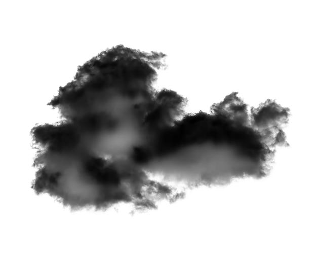 Zwarte wolk geïsoleerd op witte achtergrond