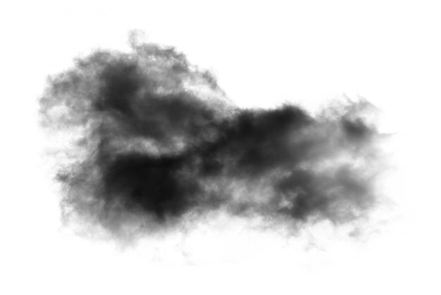 Zwarte wolk met een deken van rook op witte muur