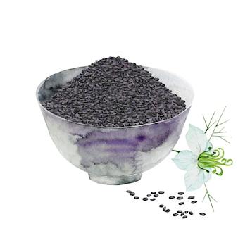 Zwarte zaden in een kom met komijnbloem