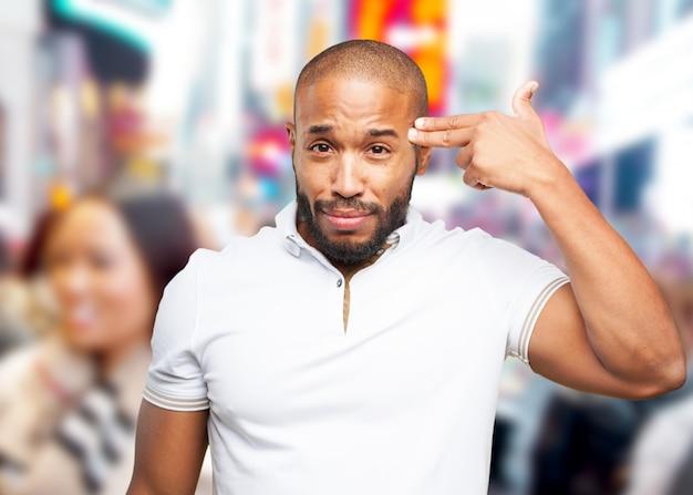 Zwarte zakenman droevige uitdrukking