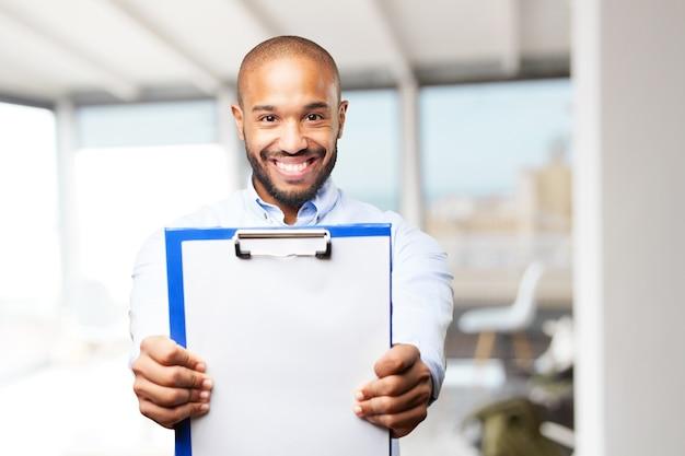 Zwarte zakenman gelukkige uitdrukking