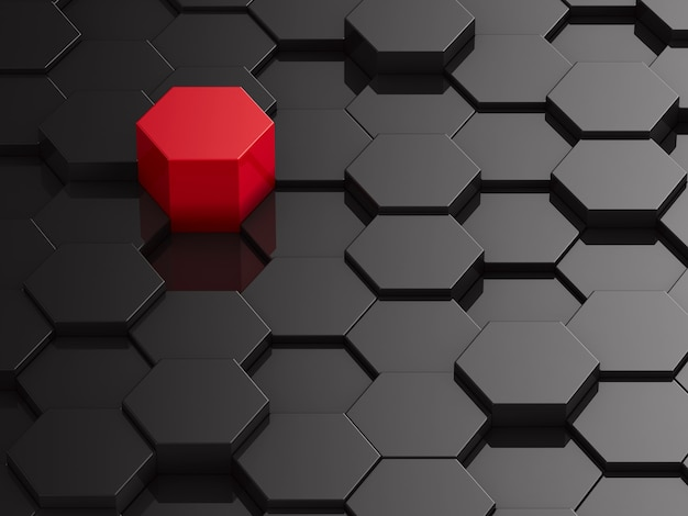 Zwarte zeshoek achtergrond met rood element