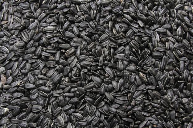 Zwarte zonnebloempitten, biologische achtergrond. het concept van oogst en handel.