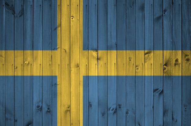 Zweden vlag op oude houten muur