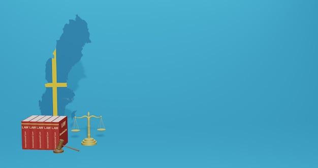 Zweedse wet voor infographics, sociale media-inhoud in 3d-weergave
