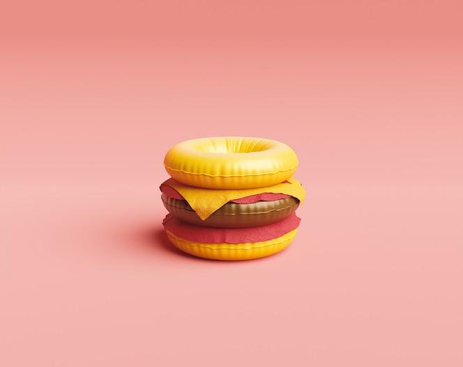 Zwembad float hamburger zomer en voedsel concept