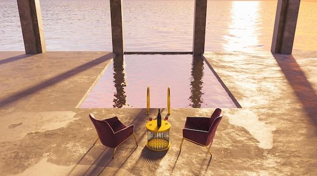 Zwembad met uitzicht op zee en tafel met wijnglazen en zijden stoelen boven een zonsondergang.