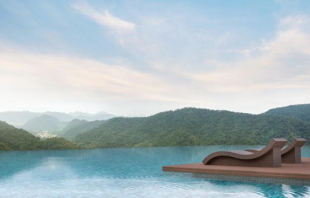 Zwembad terras met uitzicht op de bergen 3d rende ingericht met rotan meubelen