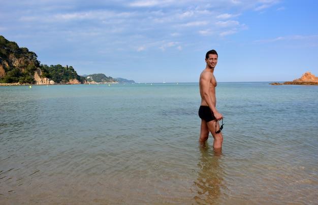 Zwemmer training op het strand