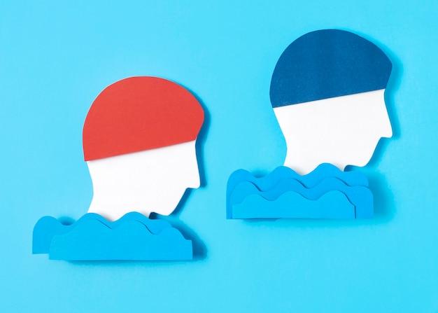 Zwemmers in papieren stijl