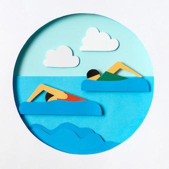 Zwemwedstrijd in papieren stijl