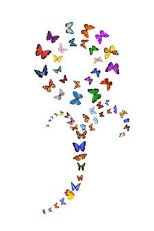 Zwerm vliegende vlinders in de vorm van een bloem geïsoleerd op een witte achtergrond. hoge kwaliteit foto