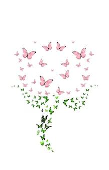 Zwerm vlinders in de vorm van een bloem geïsoleerd op een witte achtergrond. rode knop. tropische insecten. gekleurde motten voor design. hoge kwaliteit foto
