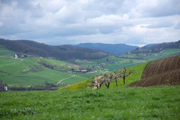 Zwitserland, canton basel country, olsberg; omgeving van arisdorf, landschap