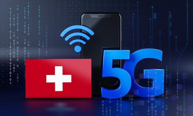 Zwitserland klaar voor 5g-verbindingsconcept. 3d-rendering smartphone technische achtergrond