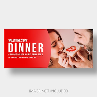 Banner sjabloon restaurant paar Valentijnsdag