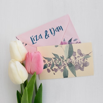Bloemen bruiloft uitnodiging mockup aquarel