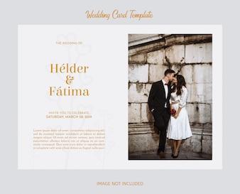 Elegante bruiloft kaartsjabloon met fotografie