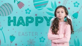 Gelukkig Pasen-dagmodel met meisje