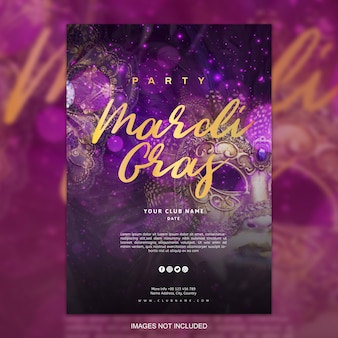 Mardi Gras poster sjabloon