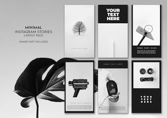 Minimaal zwart en wit instagram lay-outpakket