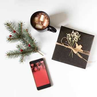 Smartphone-mockup met Kerstmissamenstelling