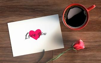 Valentijnsdag kaart met koffie en roos