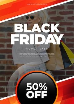 Zwarte vrijdag cover mockup met afbeelding