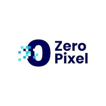 0 nul nummer pixel markeren digitale 8 bit logo vector pictogram illustratie