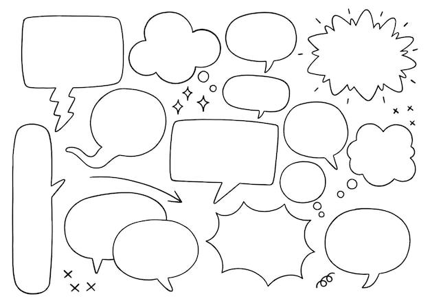 0001 hand getekende achtergrond set van schattige tekstballon in doodle stijl