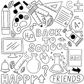 08-09-080 hand getrokken set van school pictogrammen ornamenten achtergrond patroon vlag