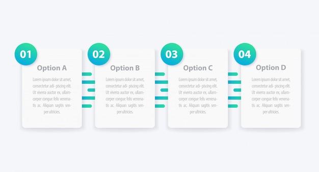 1, 2, 3, 4 stappen, minimalistische infographics, tijdlijn