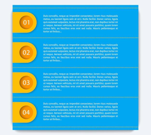 1,2,3,4 stappen, tijdlijn, infographics-elementen, labels