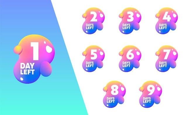 1 dag links tellen fluid splash shape banner set