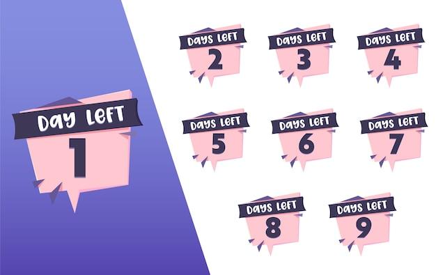 1 dag links tellen roze zwarte banner set