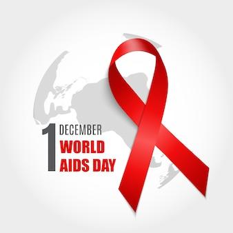 1 december wereld aids dag achtergrond. rood lint teken. vectorillustratie eps10