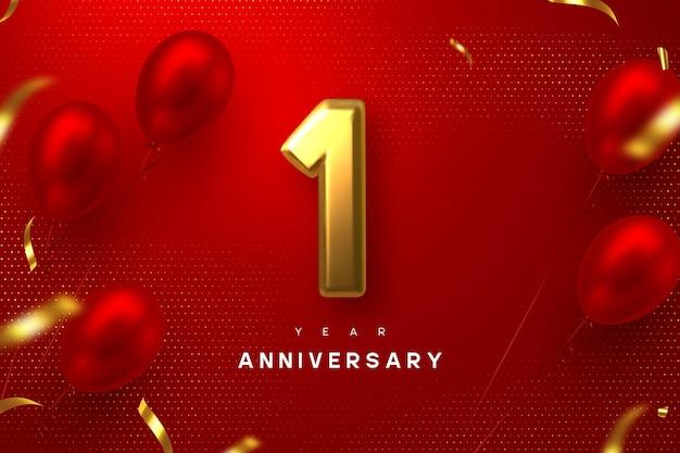 1 jaar jubileumviering banner. 3d-gouden metallic nummer 1 en glanzende ballonnen met confetti op rode gevlekte achtergrond.