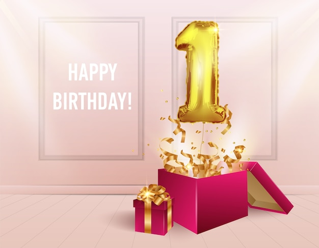 1 jaar met een gouden ballon. de viering van het jubileum. ballonnen met sprankelende confetti vliegen uit de doos.