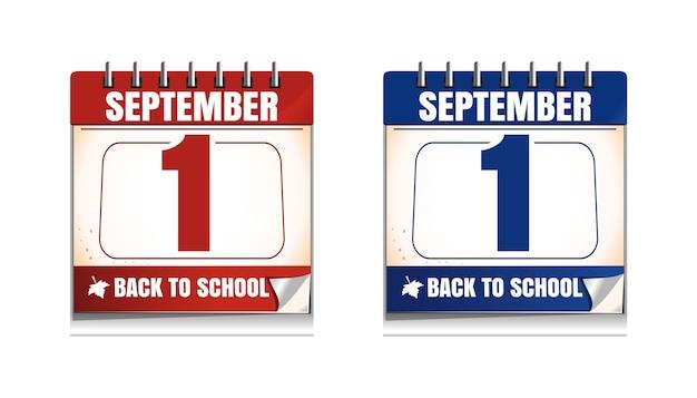 1 september. wandkalender ingesteld. kennisdag. terug naar school. illustratie
