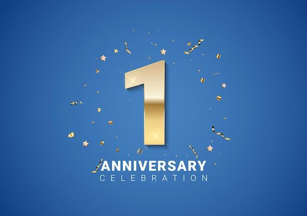1 verjaardag achtergrond met gouden cijfers, confetti, sterren op heldere blauwe achtergrond. vectorillustratie eps10