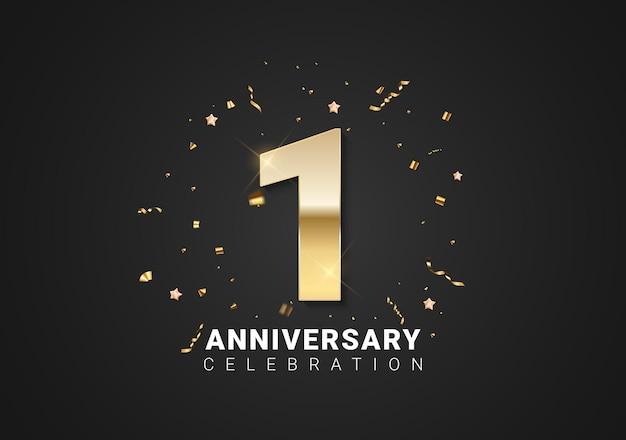 1 verjaardag achtergrond met gouden cijfers, confetti, sterren op heldere zwarte vakantie achtergrond. vectorillustratie