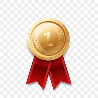 1 winnaar gouden medaille award met lint realistisch pictogram geïsoleerd. nummer één 1e plaats of beste overwinning kampioen prijs award gouden glanzende medaille badge