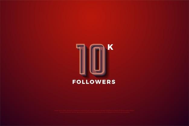 10.000 volgers of abonnees met een verhoogde nummerlijn.