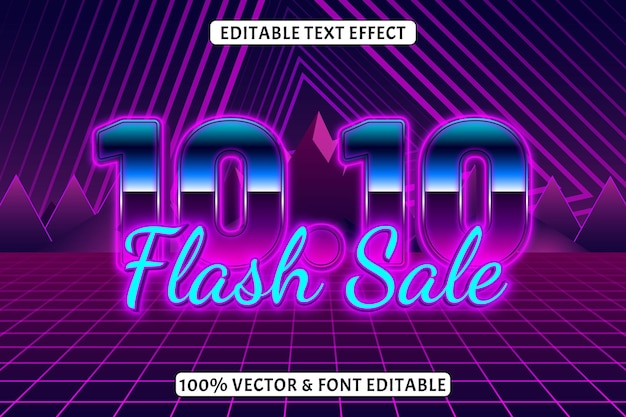 10.10 bewerkbare teksteffect retro neonstijl