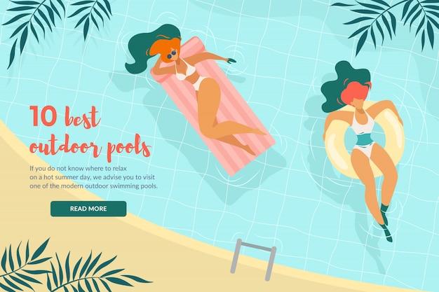 10 beste buitenzwembaden horizontale banner bovenaanzicht ontspannen jonge vrouwen