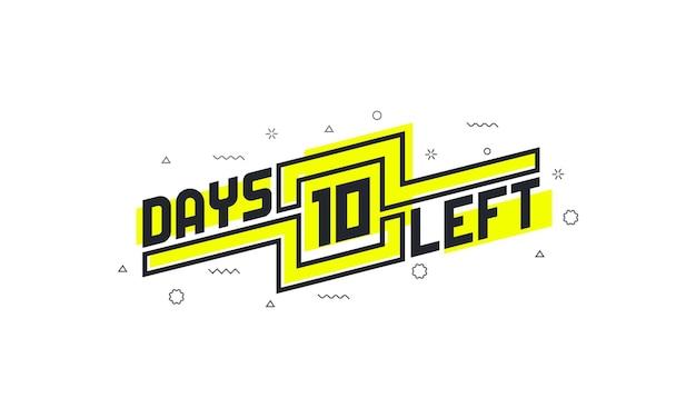 10 dagen resterend aftelteken voor verkoop of promotie.