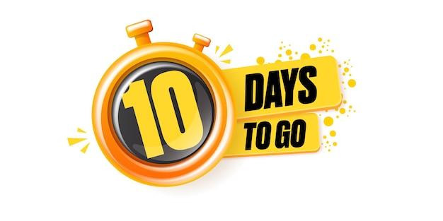 10 dagen te gaan banner met timer klok ontwerpsjabloon