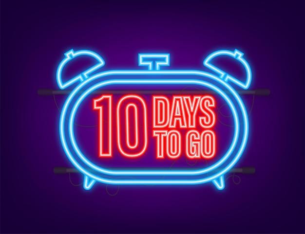 10 dagen te gaan. neon stijlicoon. vector typografisch ontwerp. vector voorraad illustratie.