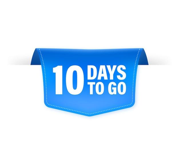 10 dagen te gaan poster in vlakke stijl. illustraties voor tijdbeheer.