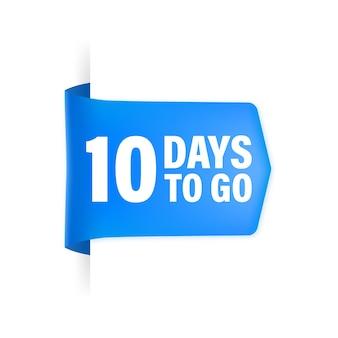 10 dagen te gaan poster in vlakke stijl.